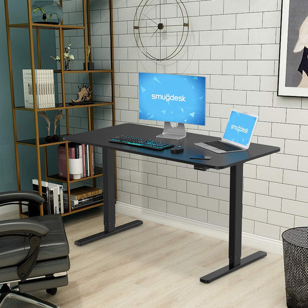 Standing Desk, 55 x 28 inches Computer Desk Electric Height Adjustable Table Home Office Desk with Splice Board and Black Frame