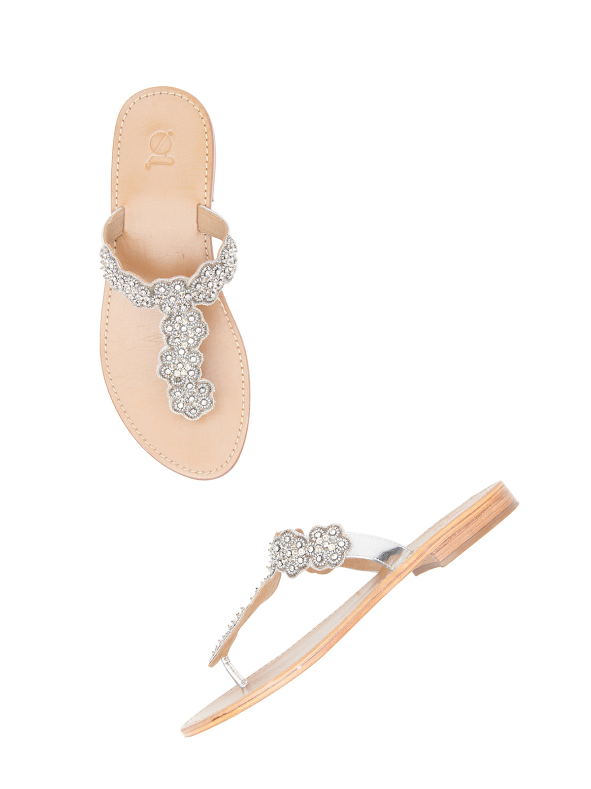 Pearl & Diamond Floral Thongs