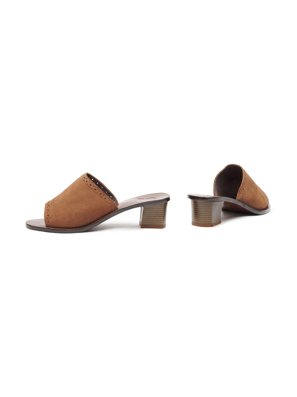 Suede Slide With Block Heel