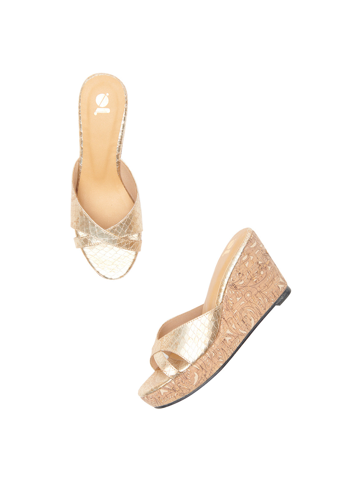 Cork And Metallic Snakeskin Platforms