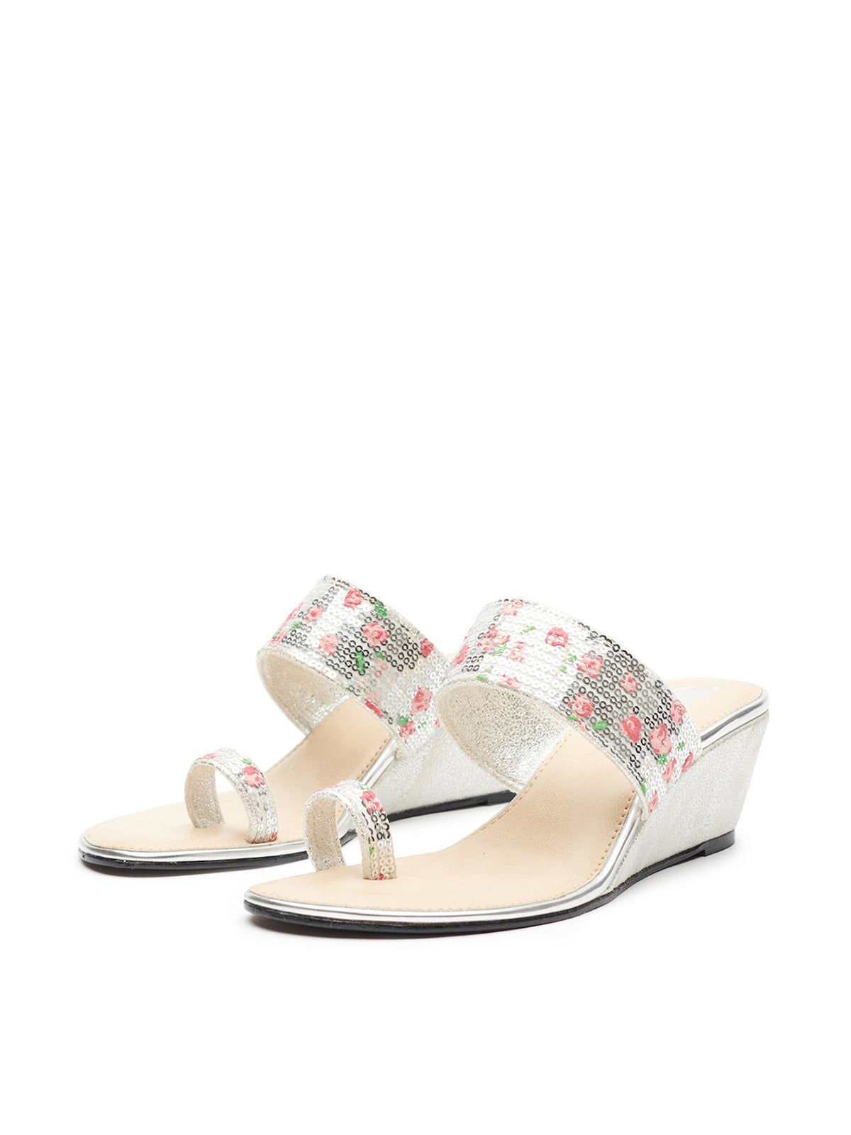 Sequinned Floral Toe Ring Slide