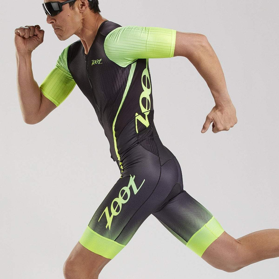 MENS ULTRA TRI AERO FULL ZIP RACESUIT - YELLOW FADE