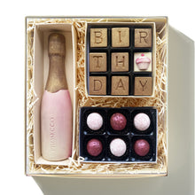 Load image into Gallery viewer, birthday chocolate hamper with prosecco bottle