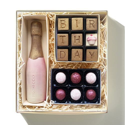 birthday chocolate hamper with prosecco bottle
