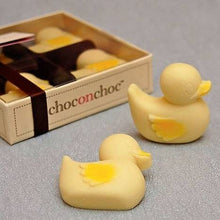 Load image into Gallery viewer, Box of Four Choc on Choc White Chocolate Ducklings in a Picnic Box With Brown Ribbon With Two Lone Ducklings Outside the Package