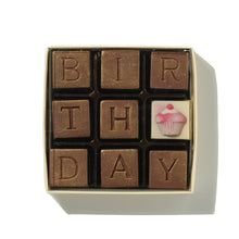 Load image into Gallery viewer, nine birthday chocolates in a box with  white chocolate cupcake