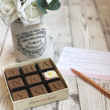 Load image into Gallery viewer, nine square thank you chocolates in a box
