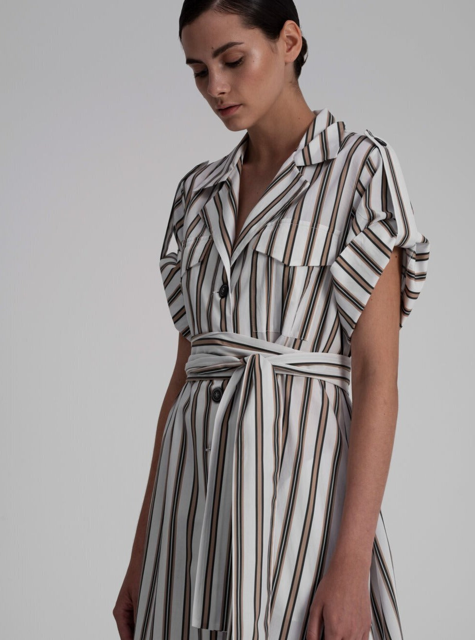 Shirt Dress in White Stripes