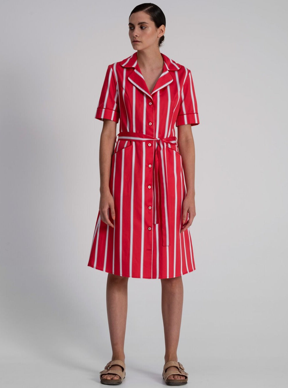 Shirt Dress in Red Cotton Satin Stripes