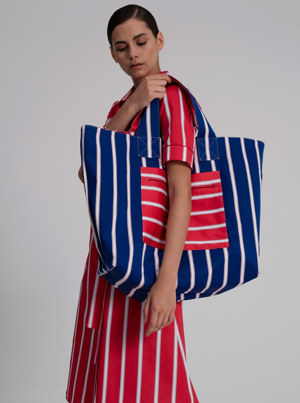 Bag in Red Cotton Satin Stripes (double faced)