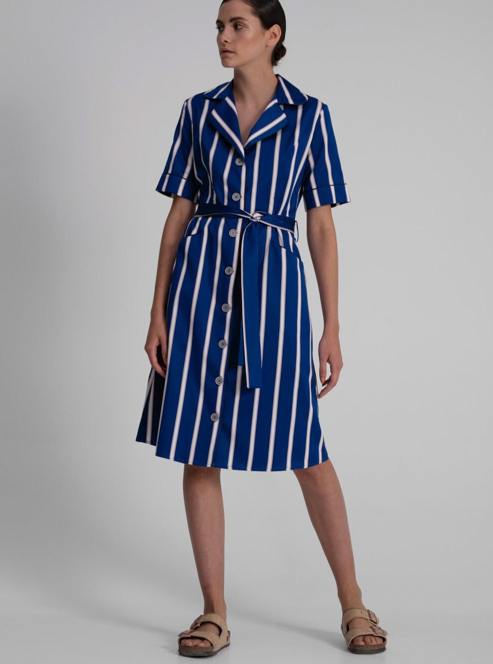Shirt Dress in Blue Cotton Satin Stripes