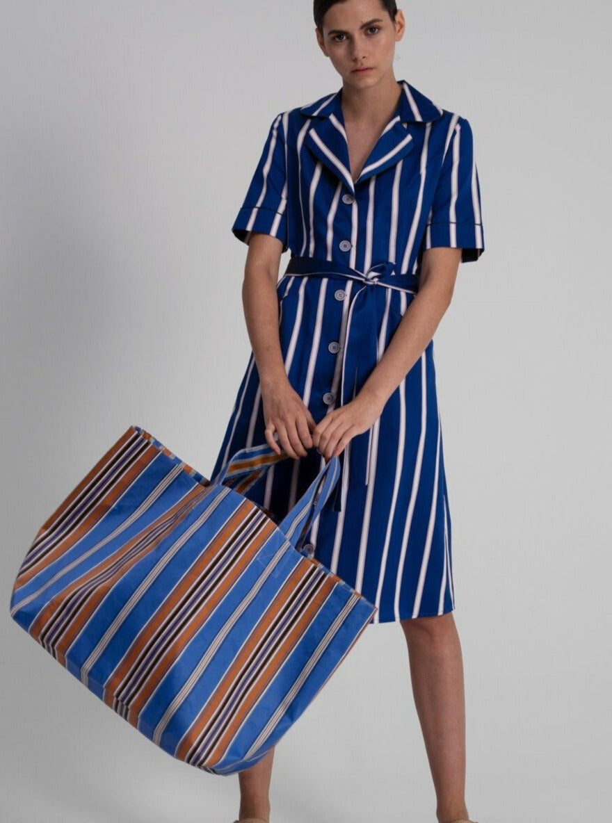 Bag in Blue Cotton Satin Stripes (double faced)