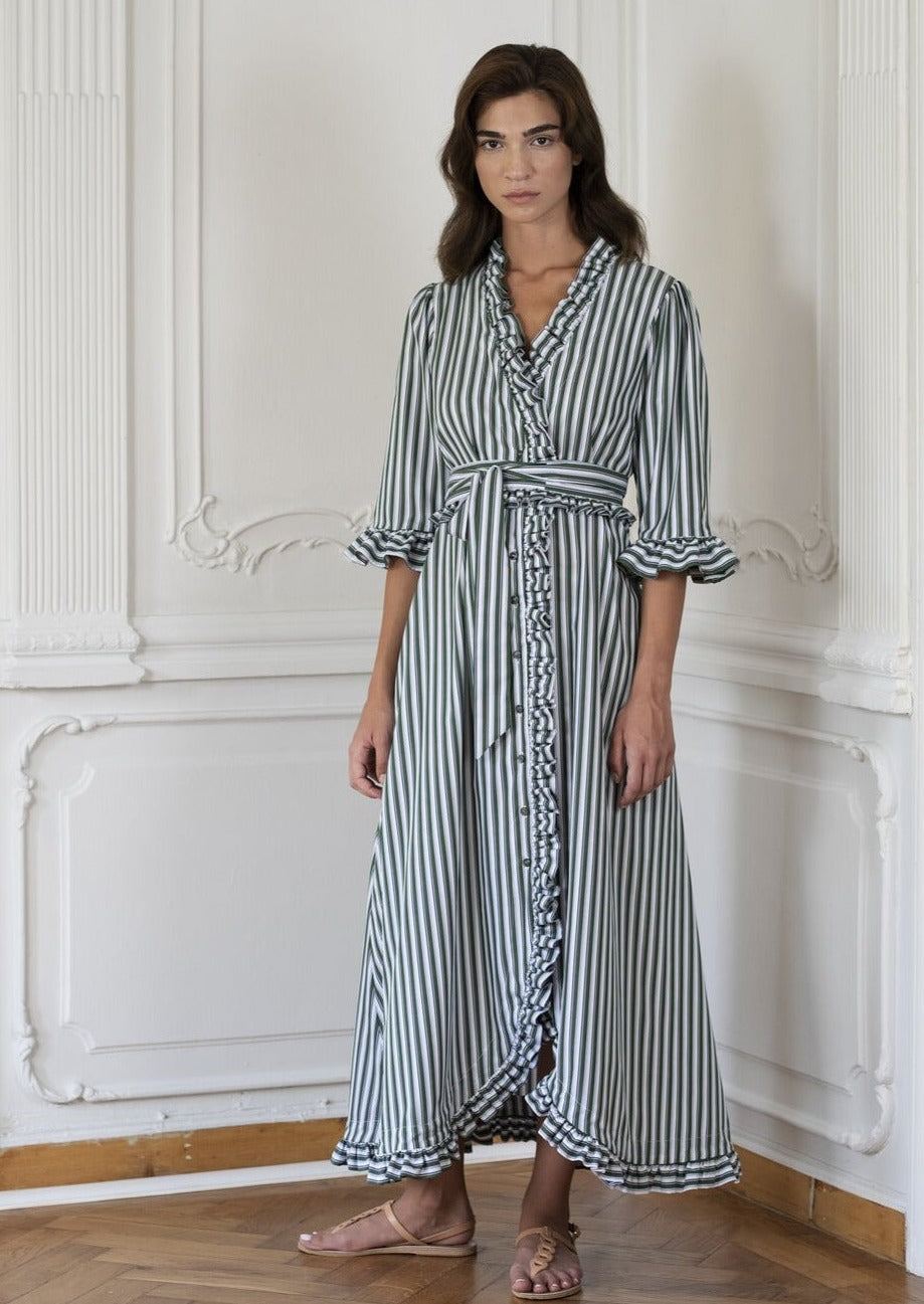 Shirt Dress in Green Stripes