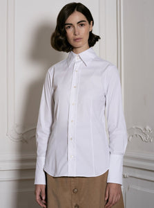 Fitted White Stretch Shirt
