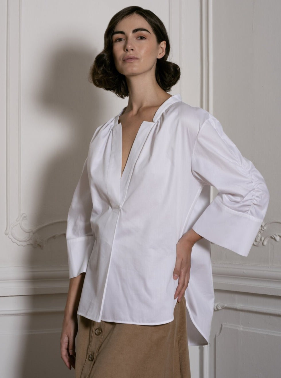 V-Neck Blouse in White