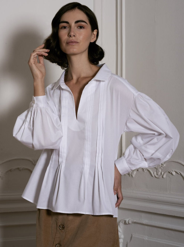White Shirt With Pleated Detail