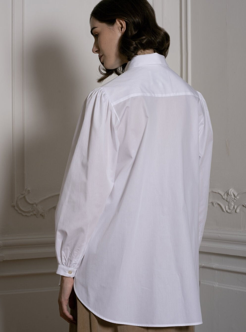 White Shirt With Pleated Front