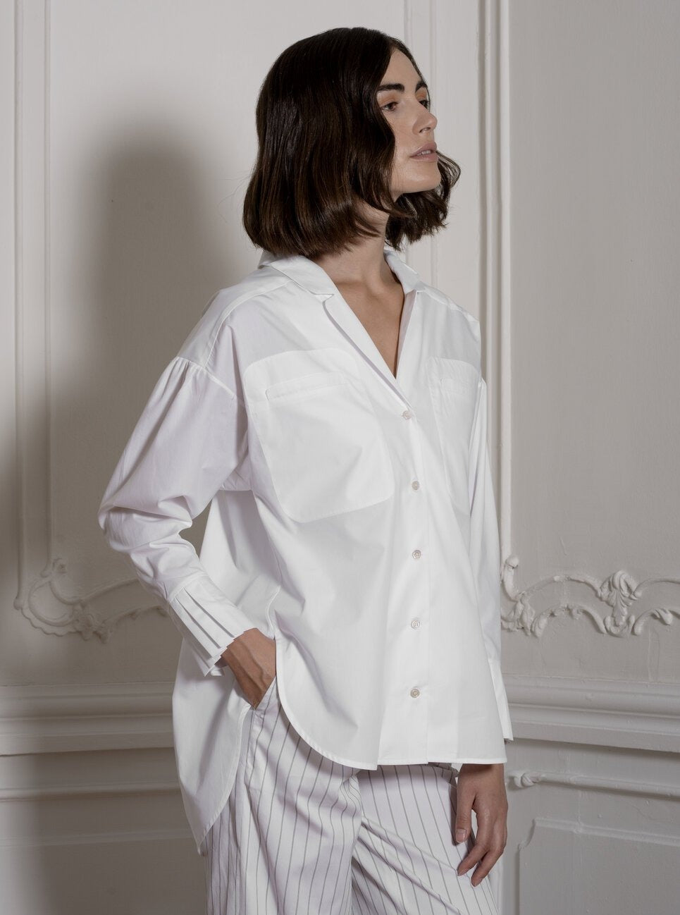 Notched Collar Shirt in White