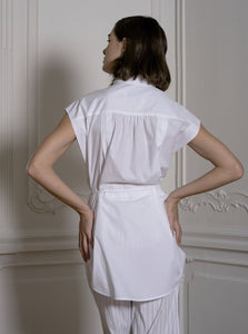 Sleeveless Shirt With Drawstring in White
