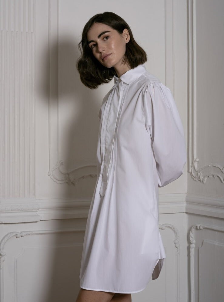 Shirt Dress With Pleated Front in White Stripes