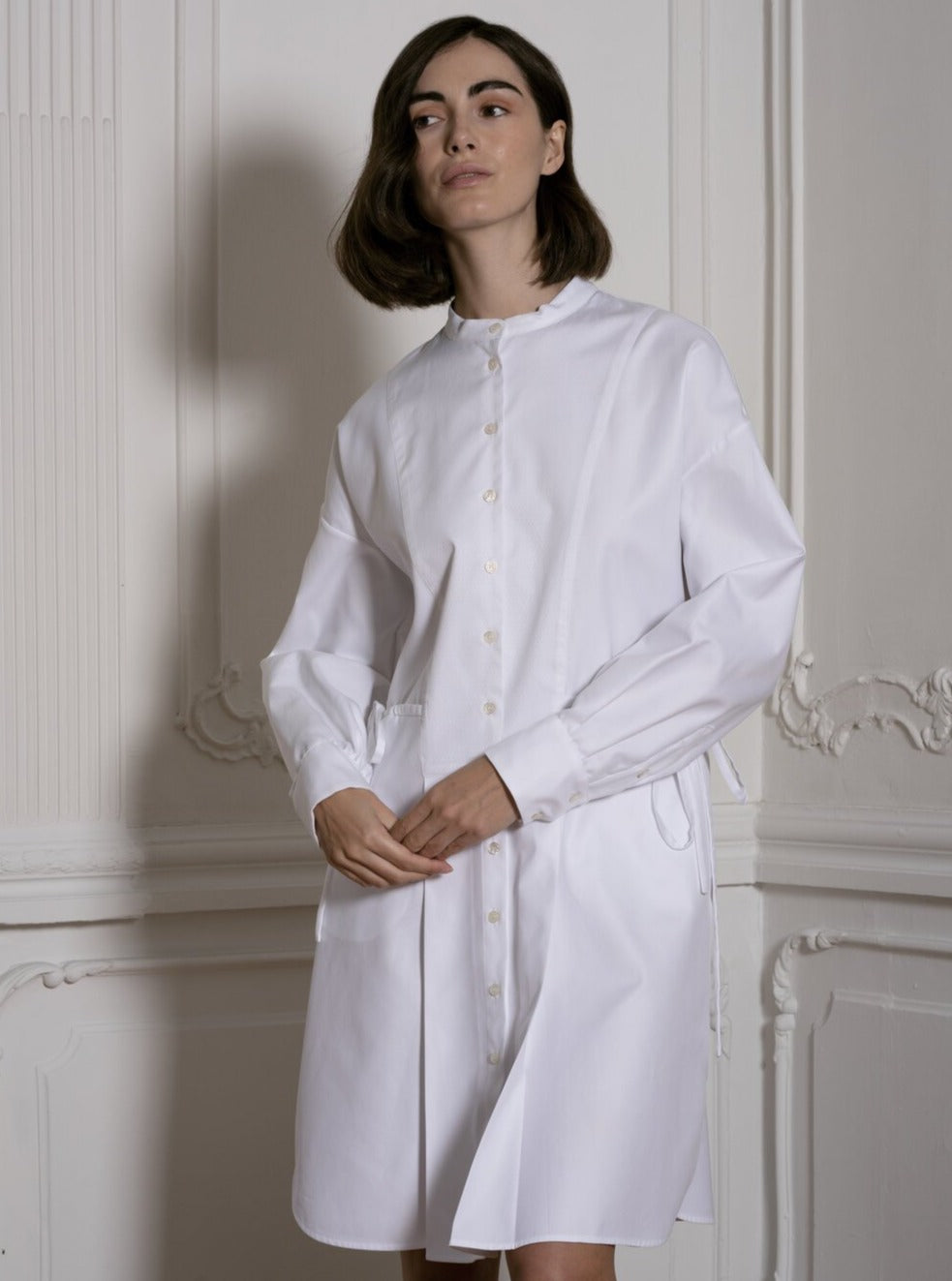 Shirt Dress With Adjustable Waist in White