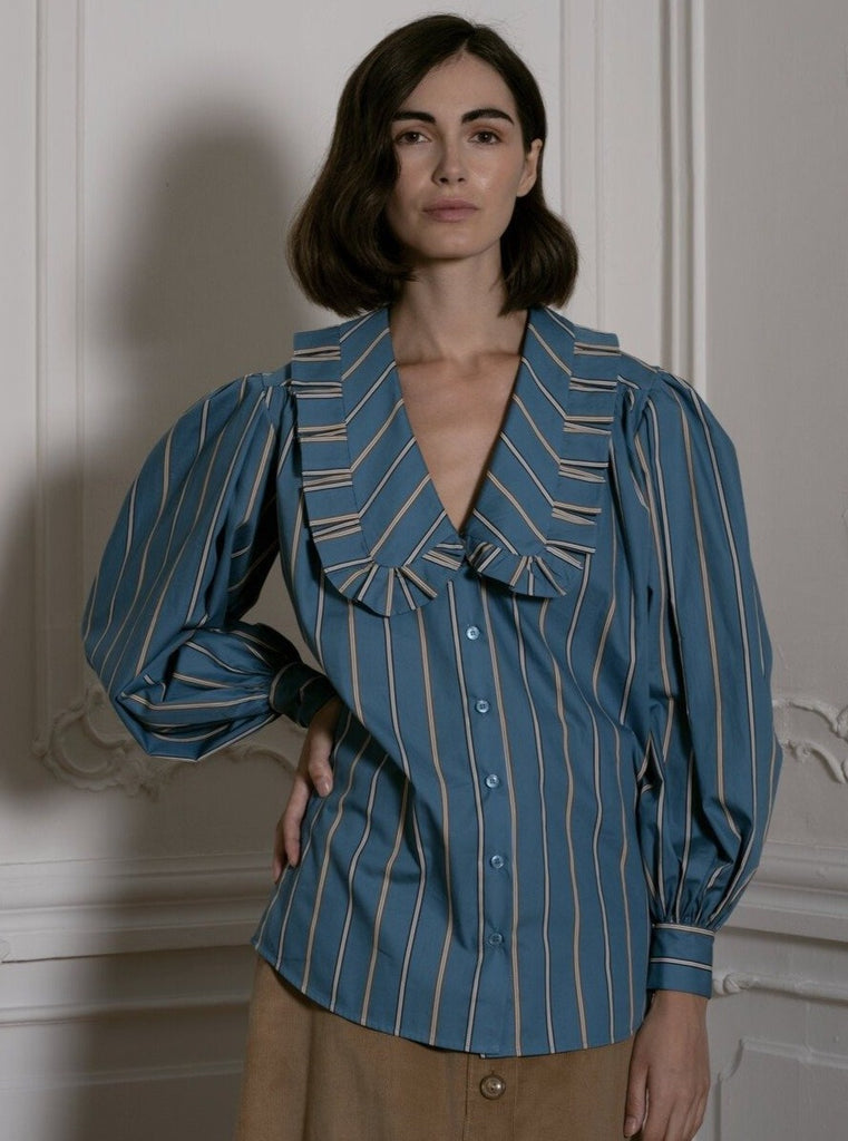 Big Collar Blouse in Blue Stripes