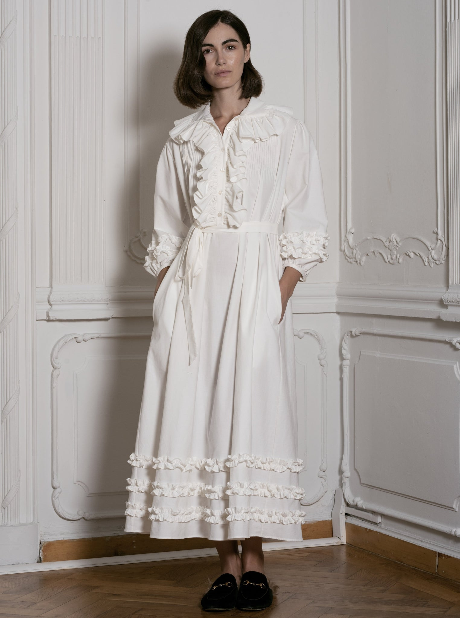 White Corduroy Dress With Ruffles