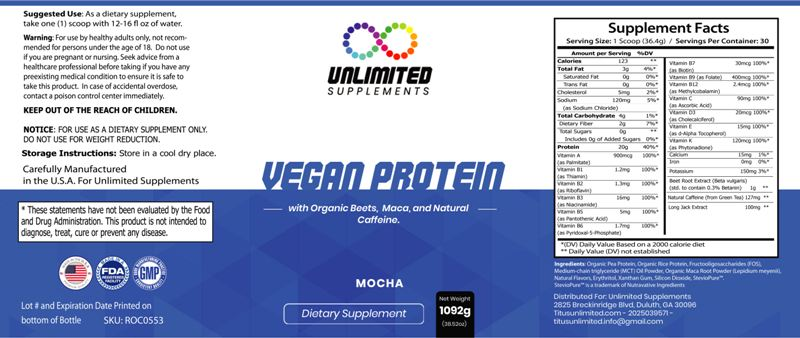 Vegan Protein – Organic Beets, Maca, and Natural Caffeine – (Mocha)