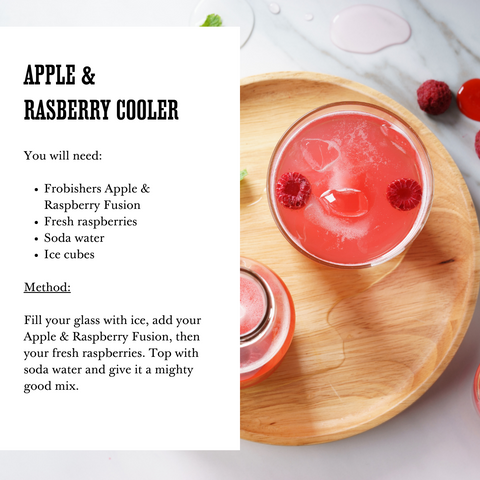 Alcohol Free Drinks - Summer Mocktail Recipe - Apple & Raspberry Cooler - Frobishers