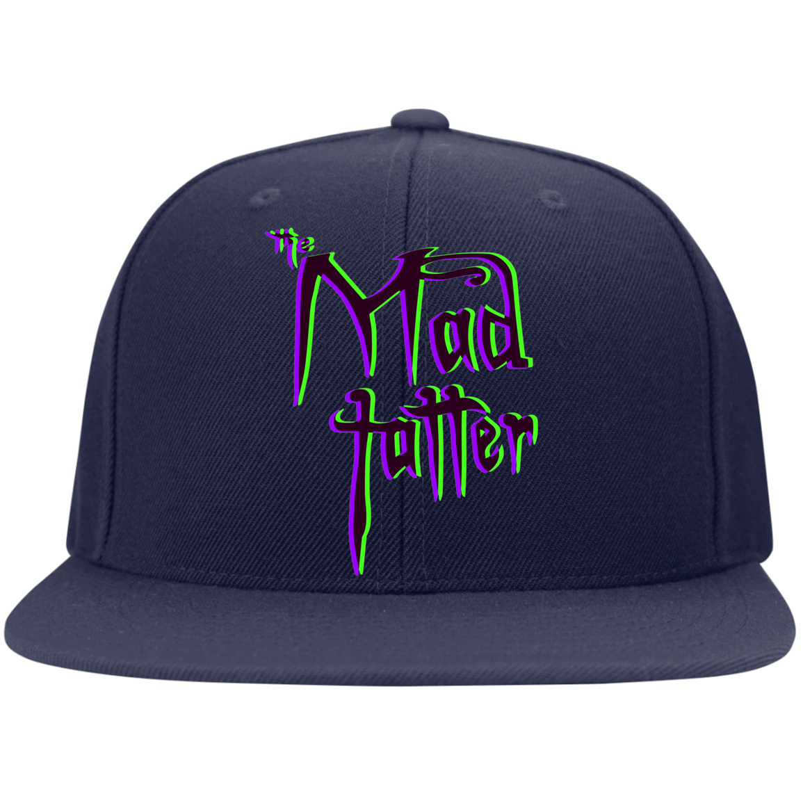 Mad Tatter 3D Logo Flat Bill High-Profile Snapback Hat - Purple/Green