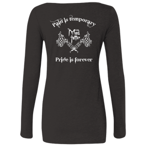 Ladies' Pain vs. Pride Triblend Long Sleeve Scoop - White Logo