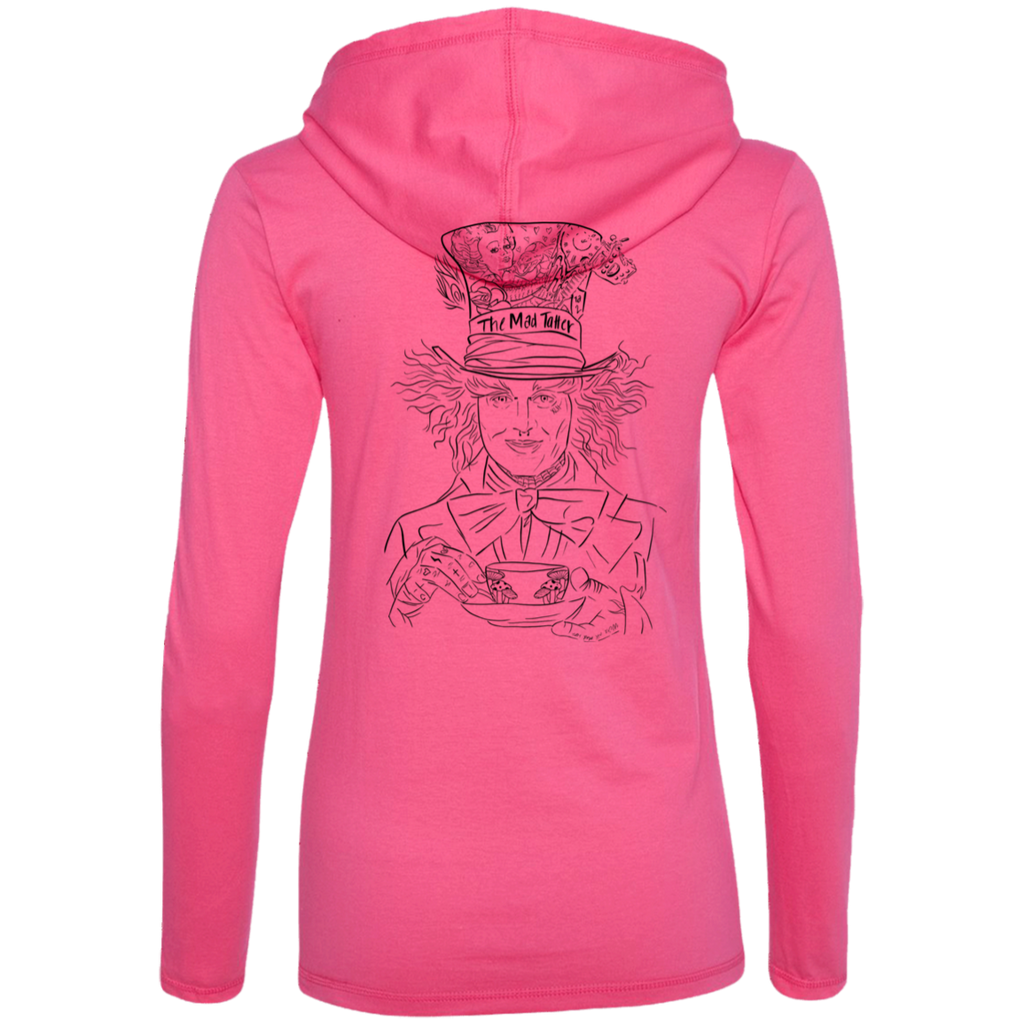 Ladies' The Tatter LS T-Shirt Hoodie - Black Logo