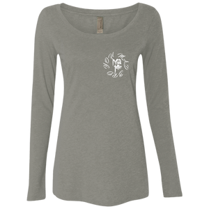 Ladies' Split Personalities Triblend Long Sleeve Scoop - White Logo