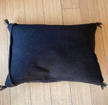 "Load image into Gallery viewer, Turkish Floor Pillow with Tassels - Black 28"" x 20"""