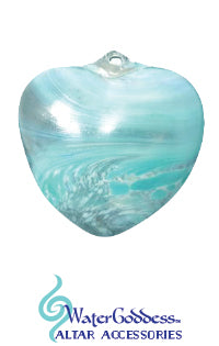 Blown Glass Aqua Swirl Heart