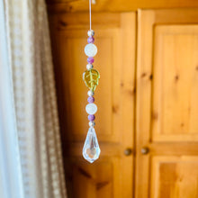 Load image into Gallery viewer, Moonstone, Peridot & Purple Chaorite Swarovski Crystal Drop Rainbow Light Catcher