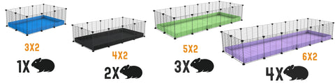 size chart guide for guinea pig c&c cage Kavee usa