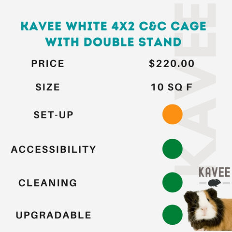 white 4x2 c and c cage with double stand for guinea pigs kavee usa