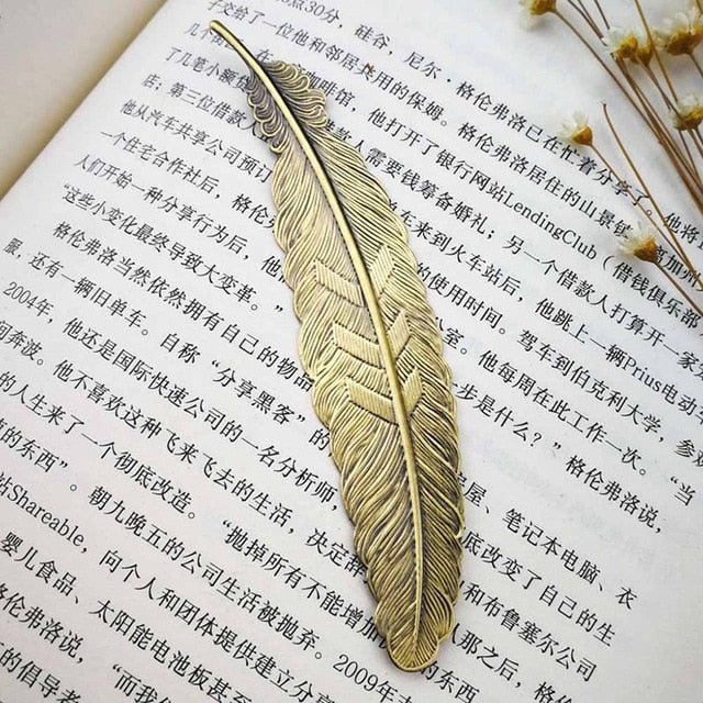 Feather Stainless Steel Metal Bookmark