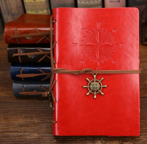 Vintage Compass Notebook With Faux Leather Cover
