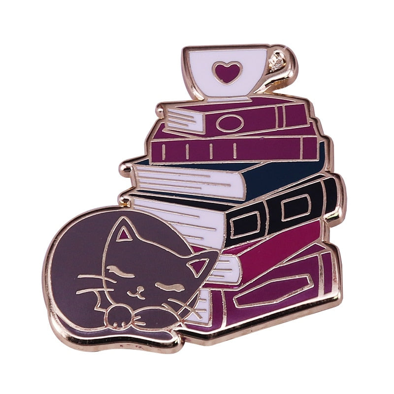 Cat Book Coffee Lovers Pin