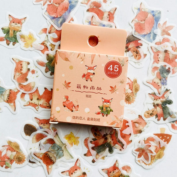 Cute Animal And Maple Leaves Sticker Set (45pc)