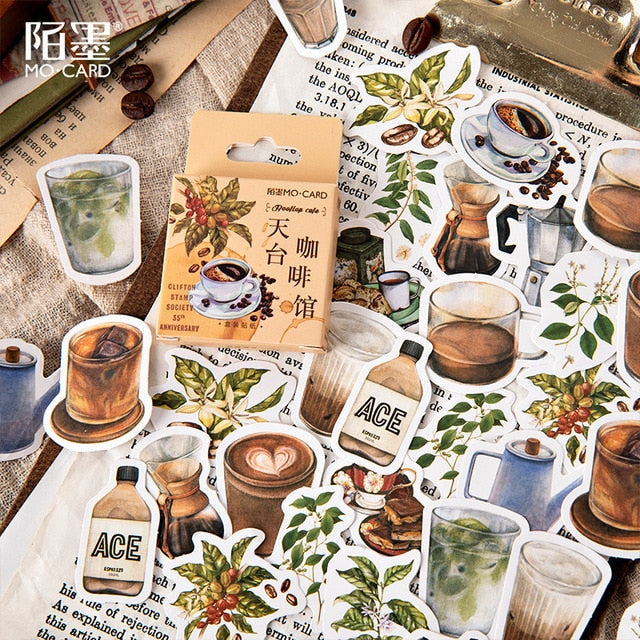 Decorative Coffee Sticker Set (46pc)