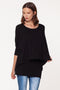 Black Double Layer Tunic Top