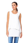 White Sleeveless Double Layer