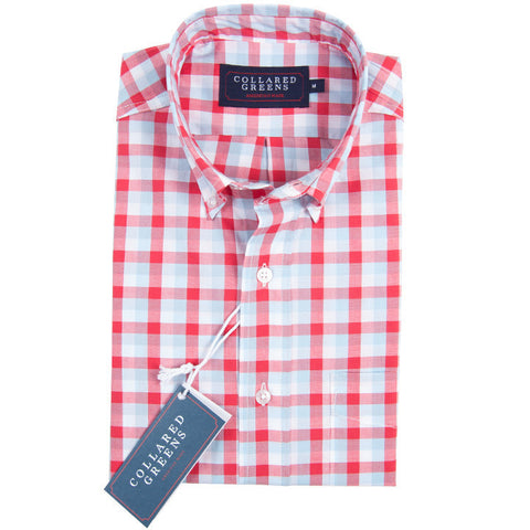 Collared Greens - The Cary Button Down - Salmon/Carolina/White - Shirts - The American Gentleman - 1
