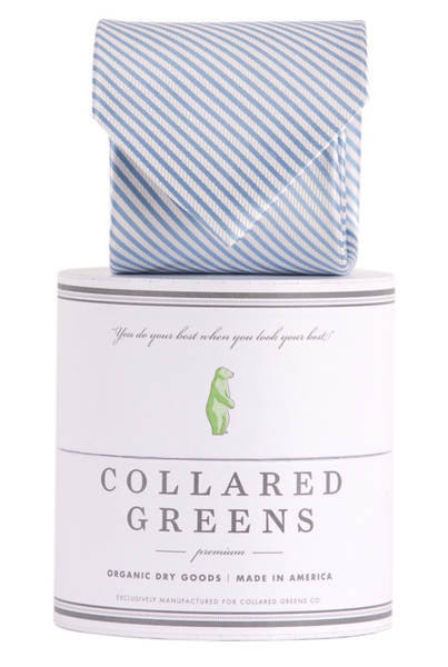Collared Greens - Signature Series - Carolina Blue Stripe - Ties - The American Gentleman - 1