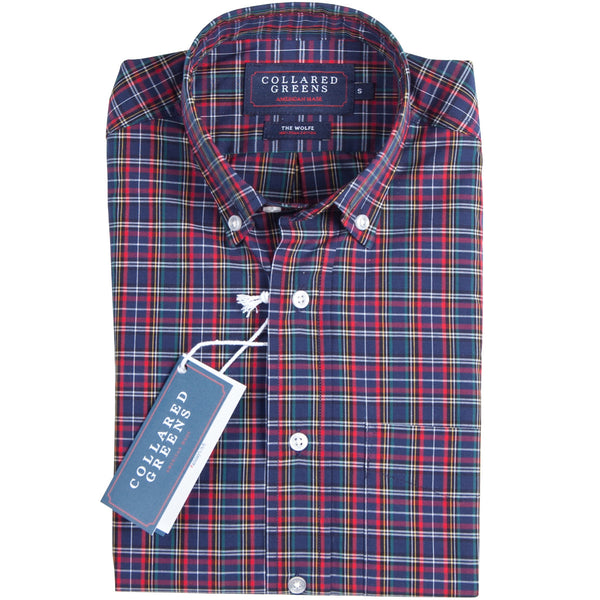 Collared Greens - The Wolfe Button Down - Navy/Red - Shirts - The American Gentleman - 1