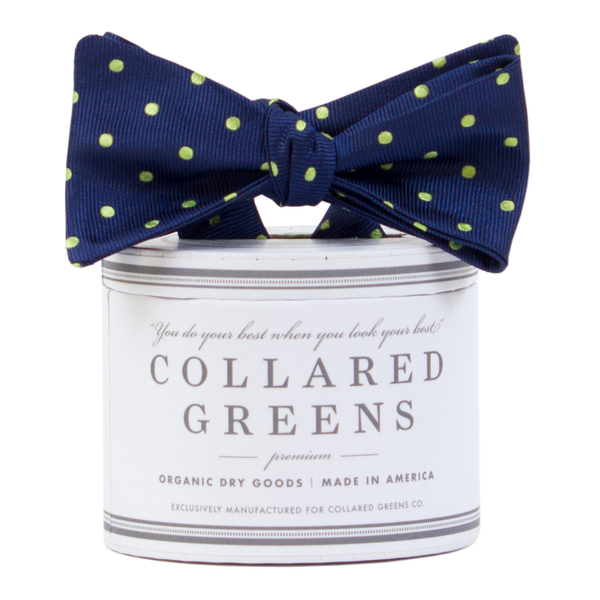 Collared Greens - Dots Bow Tie - Navy / Green - Bow Tie - The American Gentleman