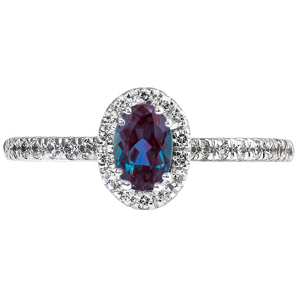 Oval Lab-Created Alexandrite & Round Diamond Halo Ring